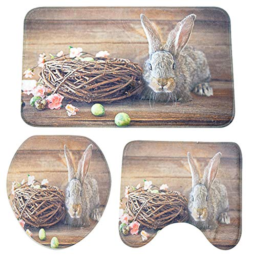 (HYIRI Factory Sale Easter Bunny Slip Sucker Bath Mat Bathroom Kitchen Carpet Door Mat Decoration 3PCS)
