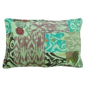 "Home Décor Patchwork Cushion Cover Kantha Green Handmade Green Pillow Sham Indian Gift Art 28"" X 18"" Inches"