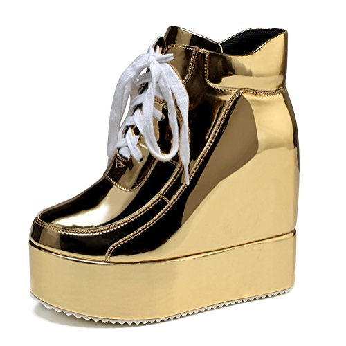 Platform Shoes Gold - getmorebeauty Womens Hidden High Heel Platform Sneakers Wedge Lace Up Chelsea Punk Patent Ankle Boots (7.5 B(M) US, Gold)
