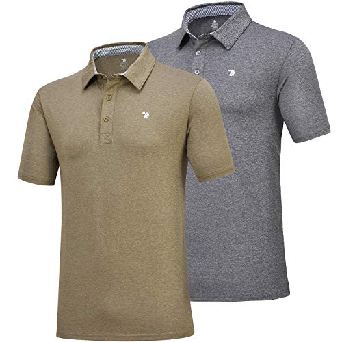 (MoFiz Men's Short Sleeve Polo Shirt Dri-Fit Performance Golf Polo T Shirt 2 Pack (XL,Army Green/Grey))