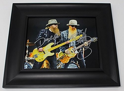 (ZZ Top La Futura Billy Gibbons Dusty Hill Authentic Signed Autographed 8x10 Glossy Photo Gallery Framed Loa)