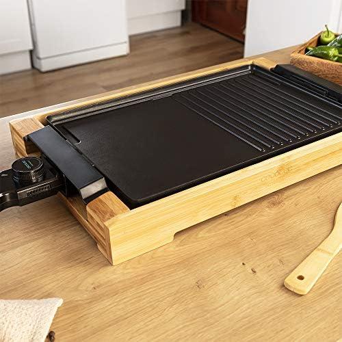 Cecotec Plancha électrique Tasty&Grill 2000 Bamboo Black. Puissance de 2000 W, Structure en bambou. Thermostat réglable, Surface Mixte, Convient au lave-vaisselle