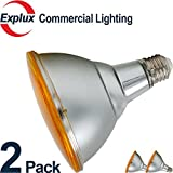 2-Pack Full-Glass Dimmable LED Amber PAR38 LED Bulbs, 45,000 Hours, Indoor/Outdoor 12 Watts (90W Equivalent) LED PAR38 Light Bulbs, Flood Light, Amber Color (Pack of 2)