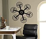 Air Drone Quadcopter Wall Vinyl Decal Wall Sticker Aircraft Home Wall Art Decor Ideas Interior Removable Kids Room Design 13(drn)