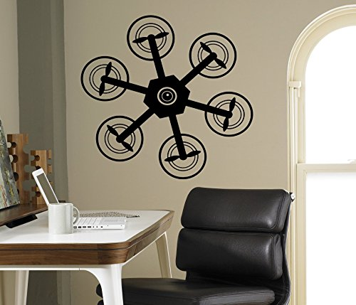 Air Drone Quadcopter Wall Vinyl Decal Wall Sticker Aircraft Home Wall Art Decor Ideas Interior Removable Kids Room Design 13(drn) by Wall Vinyl Decals