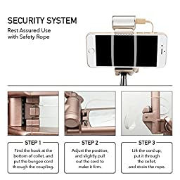 Selfie Stick, Selfie-Portrait Monopod with Build-in Bluetooth Shutter,Rear Mirror and LED Fill Light for iPhone and Samsung,Huawei All Android Cellphones (Rose Gold)