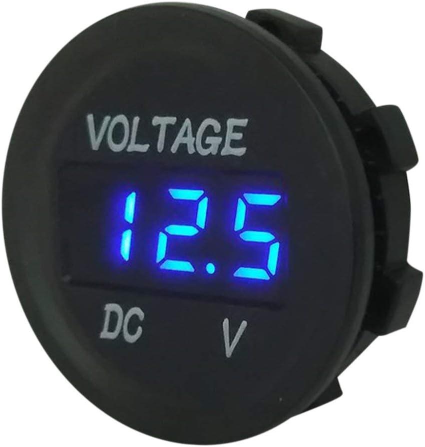 by camellia 5-48V Num/érique Panneau Voltm/ètre Tension /Électrique Voltm/ètre Testeur pour Auto Batterie Voiture Moto Navire /Étanche Bleu noir
