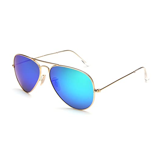 4d8c8495e5 Image Unavailable. Image not available for. Color  Aviator Sunglasses for  Mens Womens Style UV400 Flash Silver Frame Blue Lenses ...