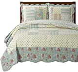 Annabel Twin/Twin XL Size, Over-Sized Quilt 2pc set 68″x90″, Luxury Microfiber Printed Coverlet by Royal Tradition