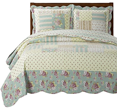 Royal Tradition Annabel Full Size, Over-Sized Quilt 3pc set 92x96, Luxury Microfiber Printed Coverlet by