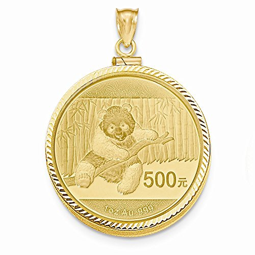 Mia Diamonds 14k Yellow Gold 1 oz Mounted Panda Coin Screw Top Coin (Mounted Panda Coin)