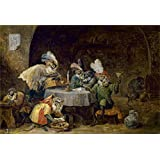 Canvas Prints Of Oil Painting ' Teniers David Monos Fumadores Y Bebedores' 16 x 23 inch / 41 x 60 cm , High Quality Polyster Canvas Is For Gifts And Laundry Room, Living Room And Study Room Decoration