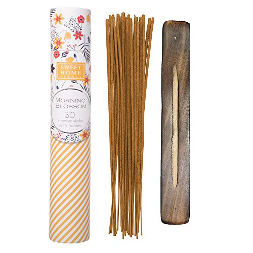 Sweet Home Scents Premium Spa Incense 30 Sticks with a Wooden Holder in a Gift Packing Tube - Morning Blossom