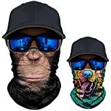 2 Pack - 3D Animal Neck Gaiter Scarf Bandana Face Mask Seamless UV Protection for Motorcycle Cycling Riding Running Fishing Hiking Conoeing Funny Dog and Chimpanzee