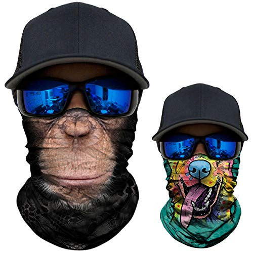 2 Pack - 3D Animal Neck Gaiter Scarf Bandana Face Mask Seamless UV Protection for Motorcycle Cycling Riding Running Fishing Hiking Conoeing Funny Dog and Chimpanzee]()