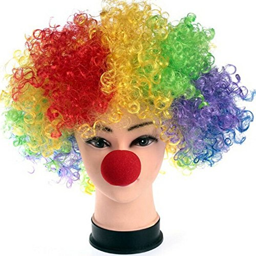 Clown Party - 1pc Halloween Party Sponge Ball Red Clown Magic Nose Masquerade Costume Explosion Curls Wig - Congratulations Kids Tropical Girls Glitter Baseball Size Dino Theme Noise Pastel Prin ()