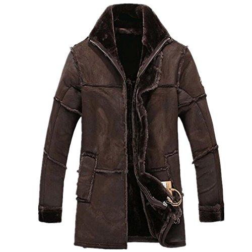 - Allonly Men's Vintage Sheepskin Jacket Fur Leather Jacket Cashmere Shearling Coat, Chocolate, US Large