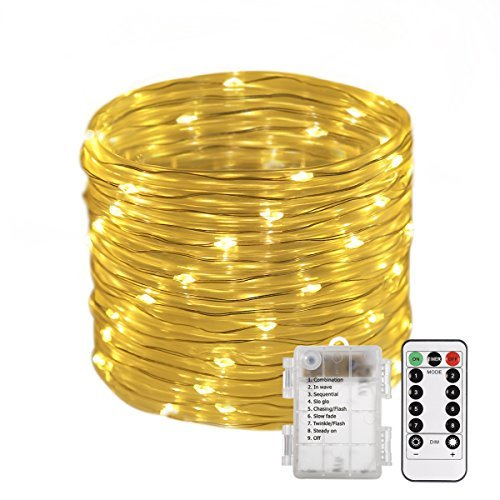 B-right 46ft Rope String Lights, Battery Powered Remote 8 Modes/Dimmable/Timer, Waterproof Decorative Lights for Bedroom Patio Festival Party Garden Tree (Warm White)