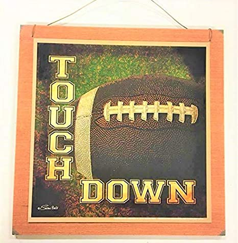 Touch Down Football Boys Sports Bedroom Wooden Wall Art Sign