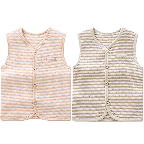 - ThreeH Baby Soft Warm Vest Button Front Cotton Waistcoat BR0604,Stripe(Pack of 2)