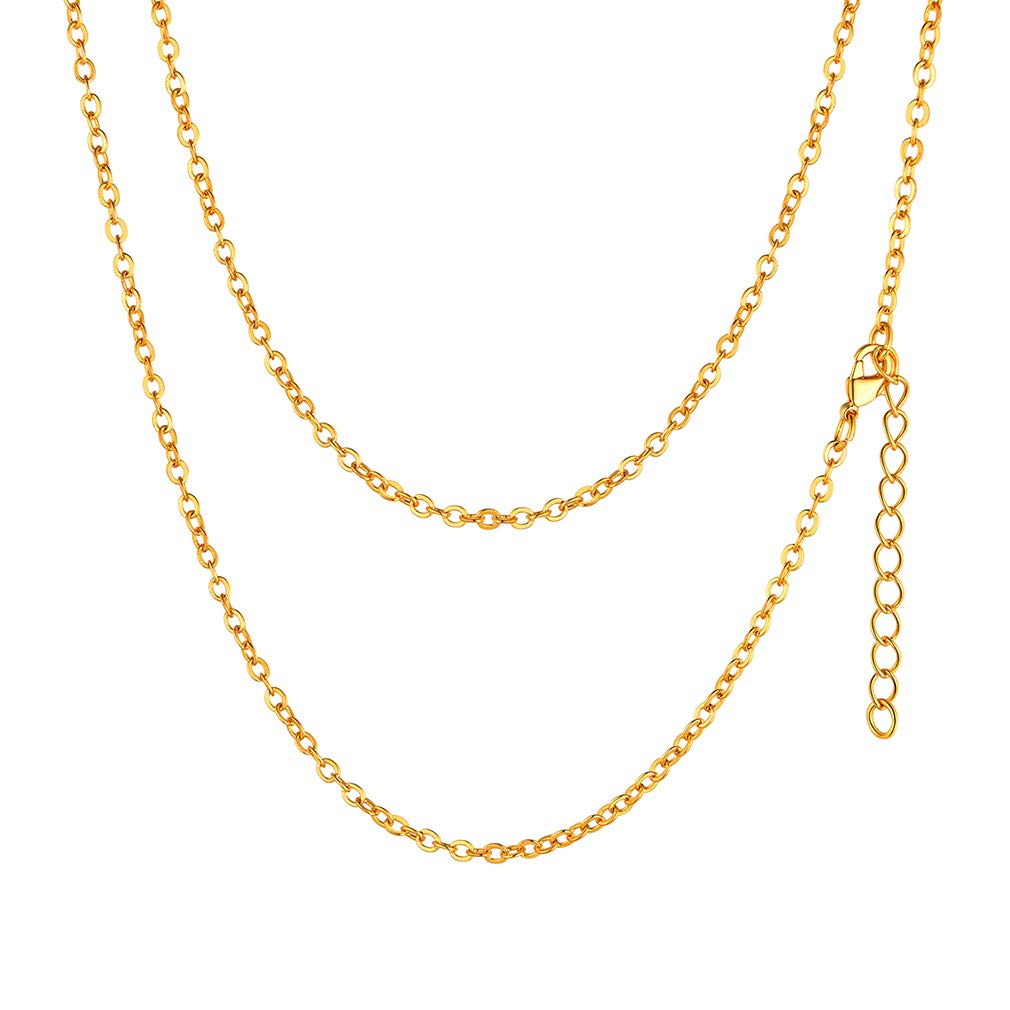Cable Chain Necklace Customize Available Stainless Steel//Gold Plated Chains for Pendant 18//20//22//24//26//28//30 Inches FaithHeart 2MM DIY Rolo O Chain Necklace Send Gift Box