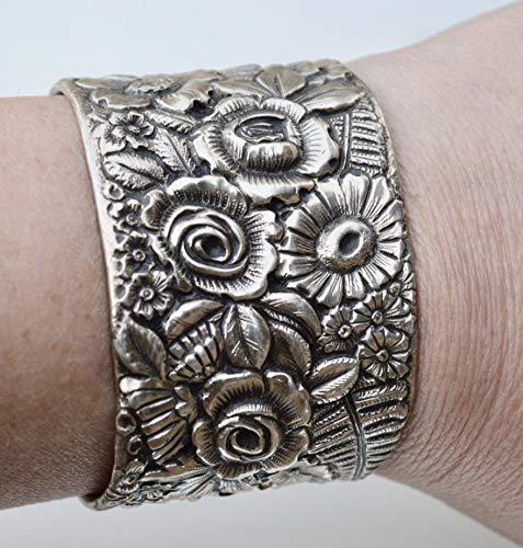 - Victorian Antique Floral Tiffany Cuff Bracelet Art Nouveau 925 Solid Sterling Silver Repoussé Wide Wedding, Bouquet, Bride, Bridal, Petite