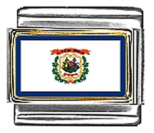 (State of West Virginia Photo Flag Italian Charm Bracelet Jewelry Link 9mm)