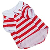 Dog T shirt,Han Shi Clearance Cute Pet Puppy Stripe Print Cotton Clothes Pajams (Red, S)