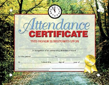 CERTIFICATES ATTENDANCE 30 PK MotivationUSA