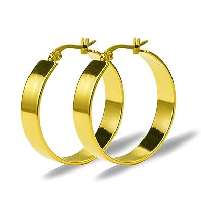 fed9bcfabfd6 Yumay Pendientes de aro redondos de oro amarillo de 9 quilates para mujer