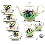 11-piece China Tea Set (Blue Dream), China Tea Service, Tea Set For Adults, Tea Cups, China Teapot, Tea service, Creamer Pitcher, Cream and Sugar Set, Tea Cups and Saucers, Tea Pot and Tea Cups