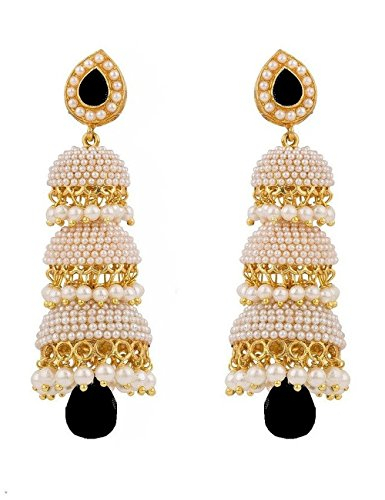 Royal Bling Bollywood Style Party Wear Traditional Indian Jewelry Black Jhumka Earrings for Women]()