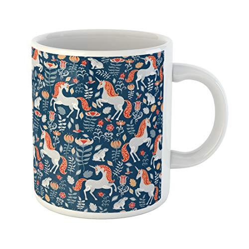 Semtomn Funny Coffee Mug Pattern Unicorns Rabbits Birds Flowers on Blue Folk Spring Animal 11 Oz Ceramic Coffee Mugs Tea Cup Best Gift Or -