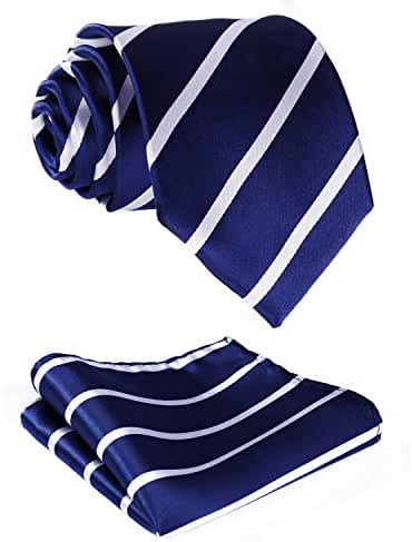 HISDERN Men's Striped Jacquard Woven Tie Necktie Set