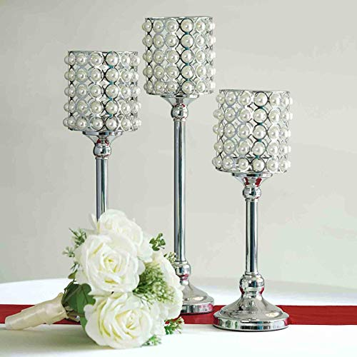 Efavormart Set of 3 Pearl Beaded Metallic Silver Candle Votive Holder Wedding Chandelier - Candle Beaded