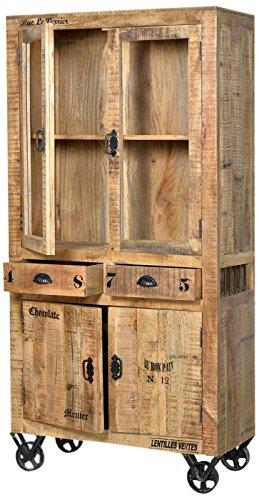 SIT-Möbel 1904-02 Vitrine rustic mango-antikfinish mit gewollten Gebrauchsspuren, 90 x 40 x 180 cm, 2 Glastüren, 2 Holztüren, 2 Schubladen