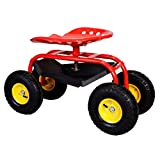 Red Rolling Garden Cart Adjustable Swivel Work Seat With Heavy Duty Tool Tray Gardening Planting Outdoor Patio Lawn Yard Utility Wagon Buggy Scooter Pneumatic Wheel