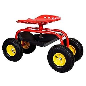 Generic NV _ 1008000897_ yc-us2G redART Heavy Duty Herramienta comer w Rolling carrito de bandeja de eavy jardinería herramienta de jardín trabajo asiento con Garde plantar rojo Rolling
