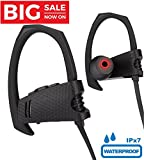 Bluetooth Headphones, Wireless Sports Earphones With Mic IPX7 Waterproof HD Stereo Sweatproof In Ear Earbuds (HOLIDAY SPECIAL) for Gym Running Workout 8 Hour Battery Noise Cancelling Headsets