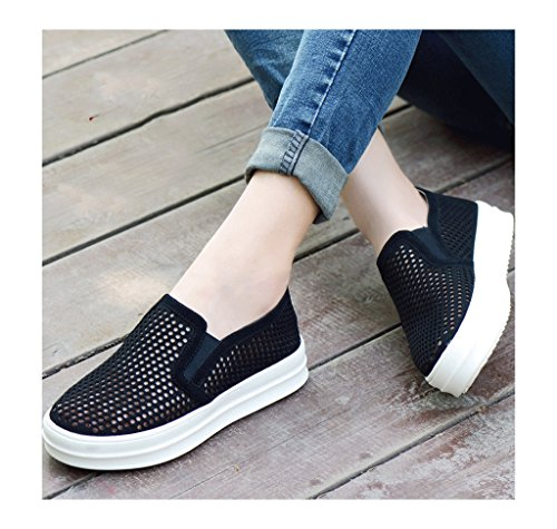 Mesh atmungsaktive net Schuhe Outdoor Sport flache Schuhe Frühling Damen Freizeitschuhe ( Farbe : Blau , größe : 40 ) Schwarz