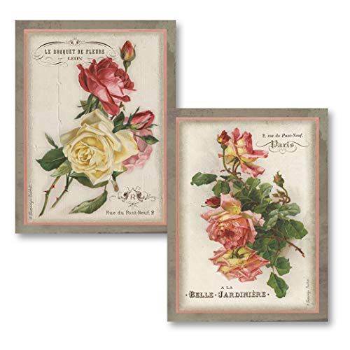 Gango Home Décor Beautiful Vintage Paris, France Rose Floral Set; Two 11x14in Unframed Paper Posters