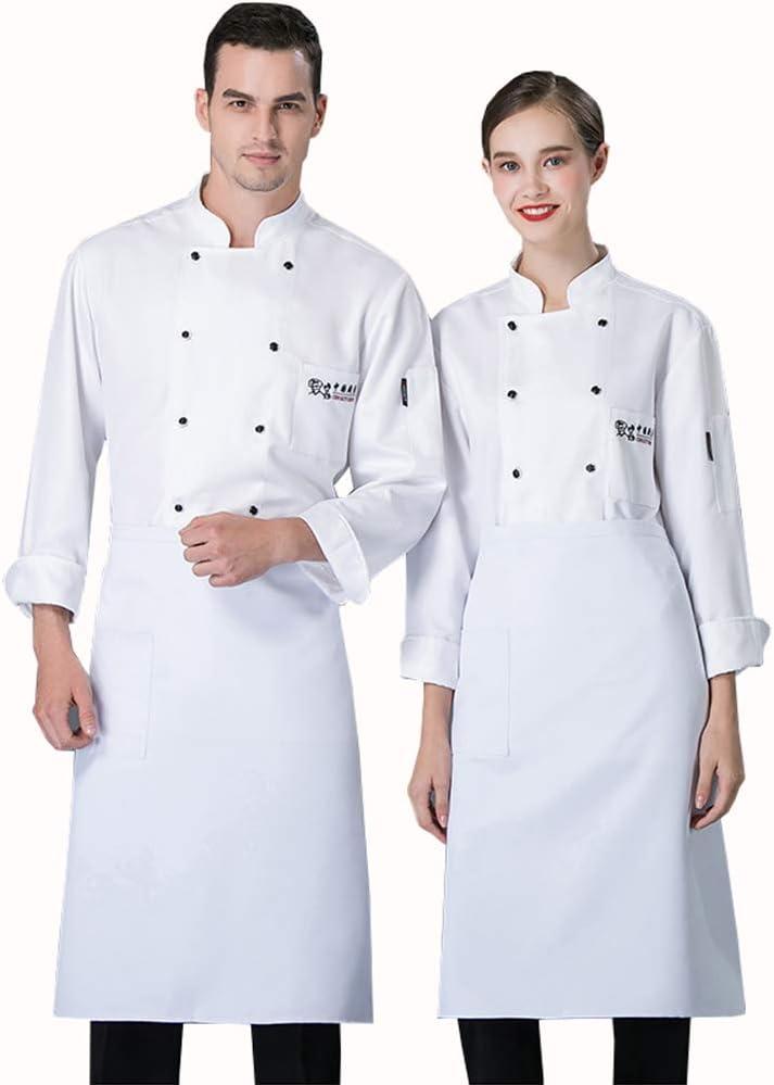 WXYC Casaca Cocina Uniforme Restaurante De Chef Cocinero Bar Restaurante Mangas Largas Algodón poliéster cómodo Adecuado para panaderías de restaurantes de hoteles,Blanco,XXXL: Amazon.es: Hogar