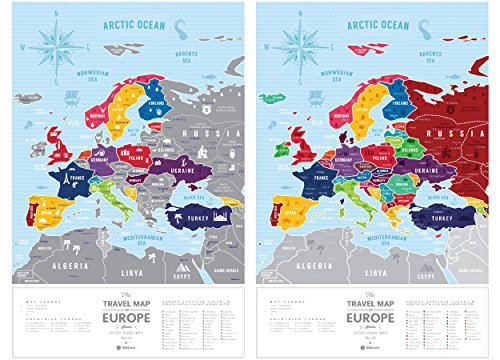 Scratch Off Europe Travel Map: 1DEA.me Scratchable Poster - Interactive Modern Geography Maps, Travel Tracker & Wall Art Decor for Kids & Adults - Made from Durable Flexible Plastic to Last Longer Photo #7