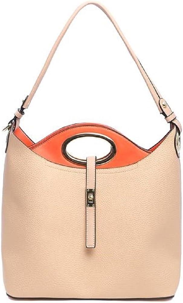 2 in 1 shoulder handbag with removal crossbody bag beige