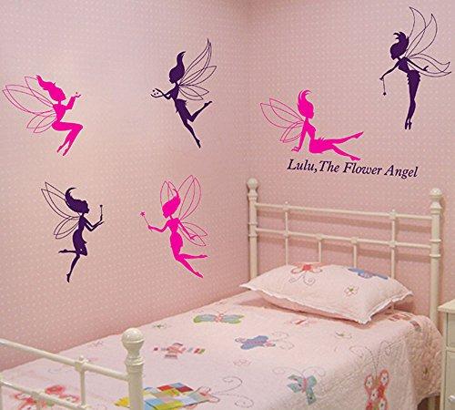 Flower Fairy Angel Pattern PVC Vinyl Wall Stickers Creative Clothing Dance Studio Decor Decals Nursery Children's Room Bedroom Living Room Home Decoration (style (Angel Pattern)