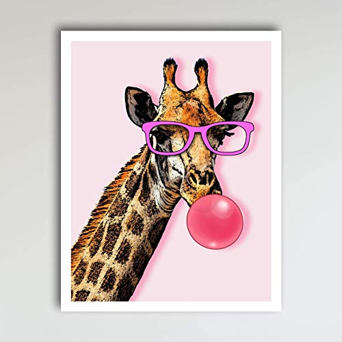 Giraffe Blowing Bubble Art Print Poster - Fun and Cute, Giraffe Zoo Animal Pink Kid's Bedroom & Nursery Wall Decor - This Loveable Art Print Poster Measures 11x14 inches, Unframed ()