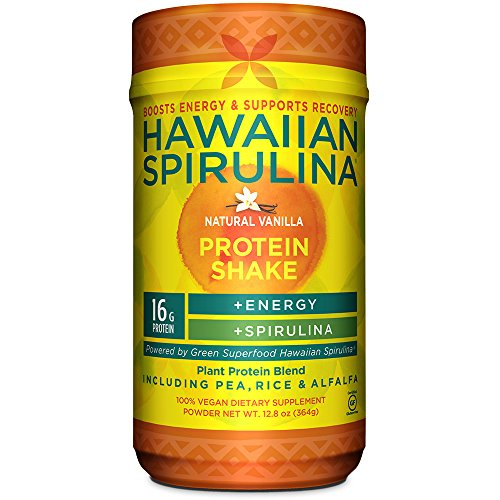 Hawaiian Spirulina Plant Protein Shake, 12.8oz - 16g Protein per serving - Natural Vanilla - Boosts Energy & Supports Recovery - Non-GMO, Vegan, Gluten ()