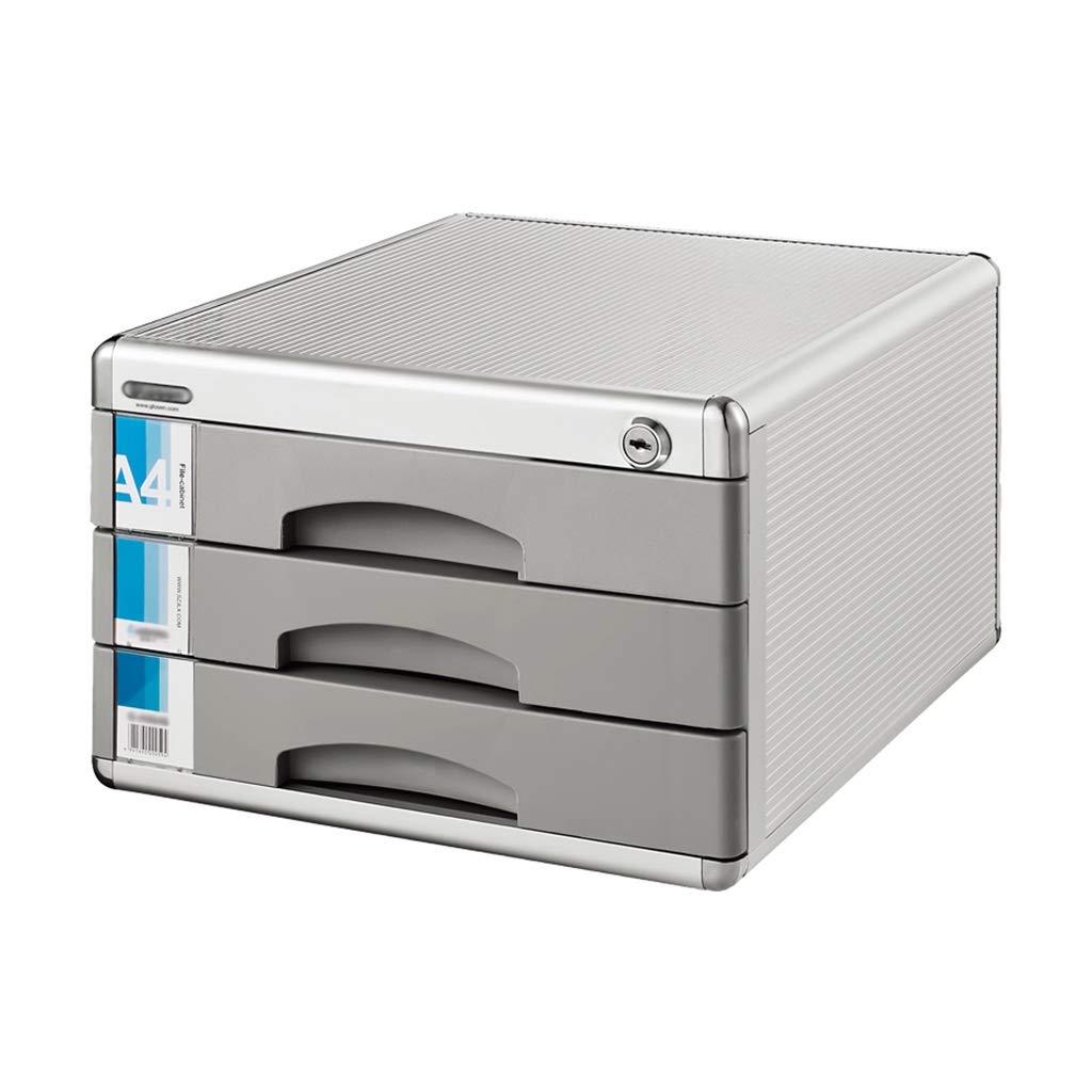 Bxwjg Desktop File Cabinet 3-Layer Aluminum Alloy Drawer Type Lock Storage Data Office Rack (12in14.4in8.2in)