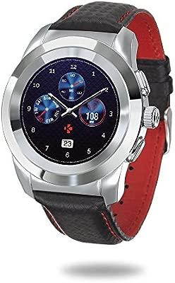 MyKronoz ZeTime Premium Reloj Inteligente híbrido 39mm con Agujas mecánicas sobre una Pantalla a Color táctil – Petite Pulido Plateado/Costura roja y ...