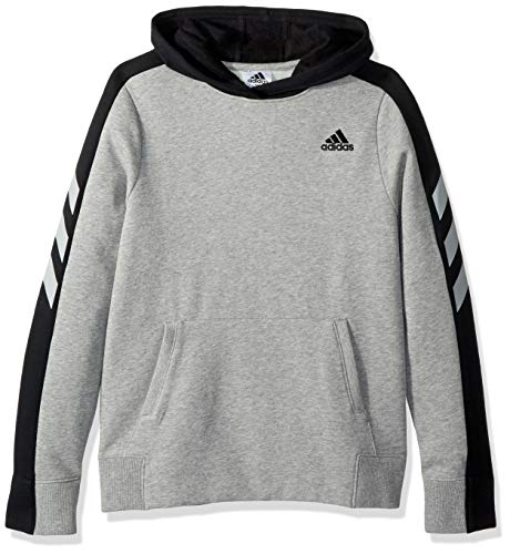 adidas Big Boys' Athletic Pullover Hoodie, Med Grey Heather Adi 1, L(14/16) by adidas (Image #1)